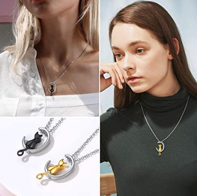 keepsake moon cat necklace